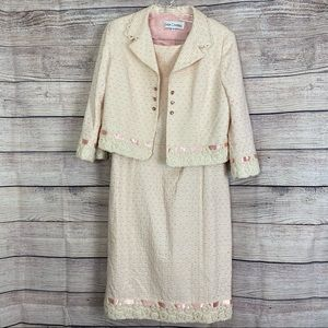 Sara Campbell Two Piece Lace/Ribbon Suit, Sz 12